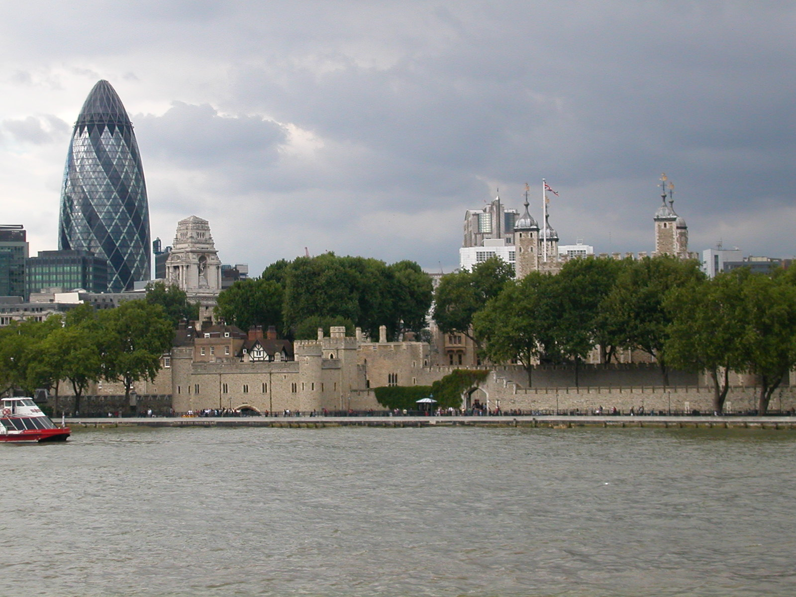 a brand new building occupied by an insurance company and the Tower of London